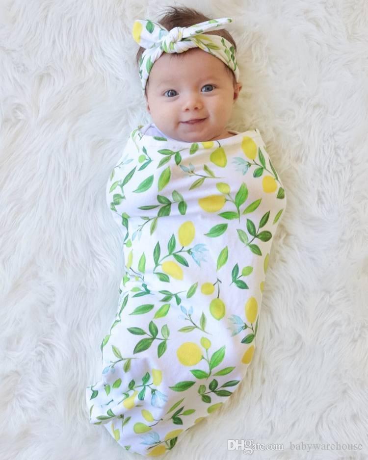 Sıcak Bebek Bebek Kundak Uyku Tulumları Yenidoğan Bebek Erkek Kız Muslin Battaniye + Kafa Iki Parçalı Set Bebek Yumuşak Pamuk Koza Uyku Çuval