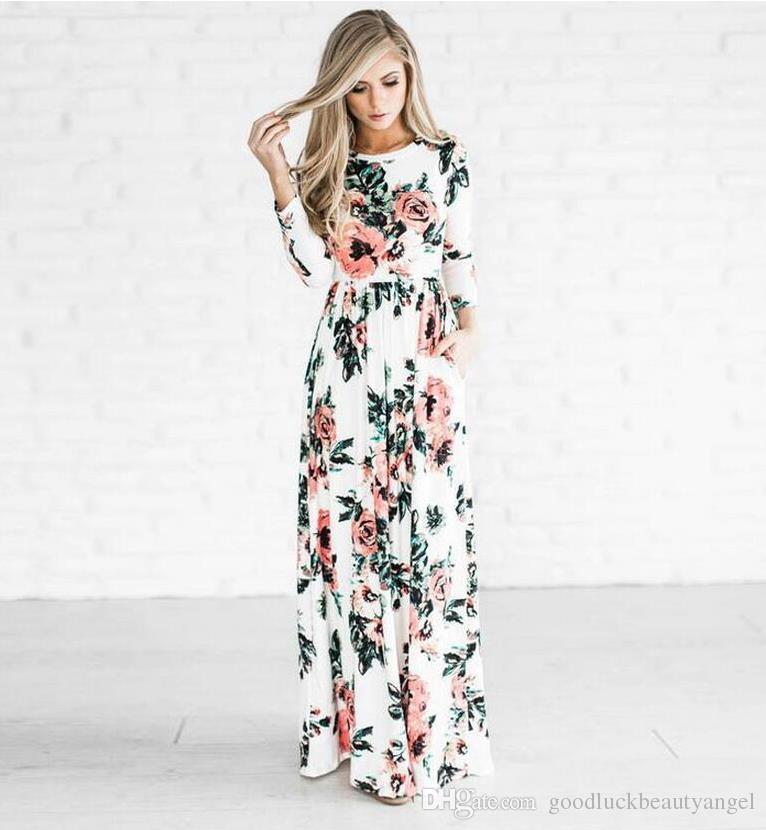 Bohemia fahion new girl print long sleeve maxi dresses plus size women  spring autumn pleated beach party runway casual big hem dress