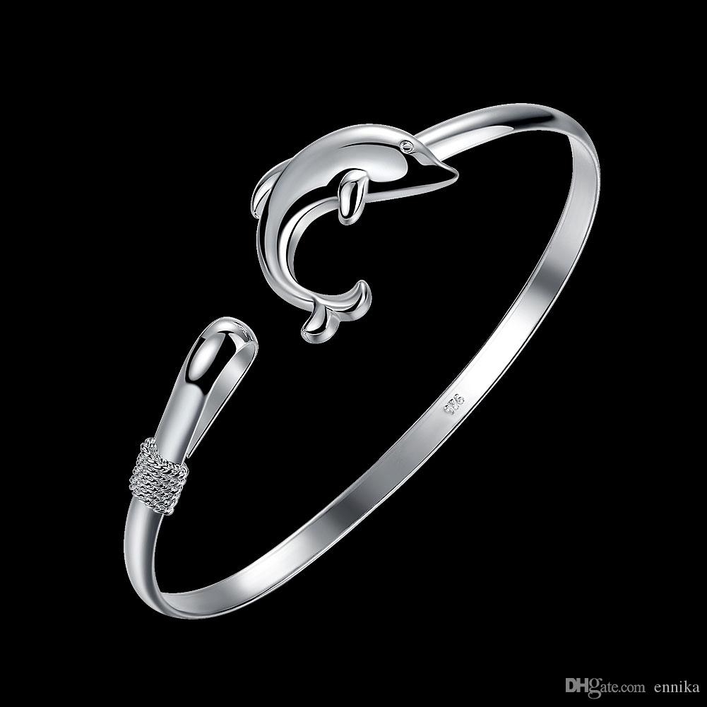 Dolphin Silver Bangle 925 Bracelet , Size 6.5cm Fashion Women's Bangles Jewelry Christmas Gift b178