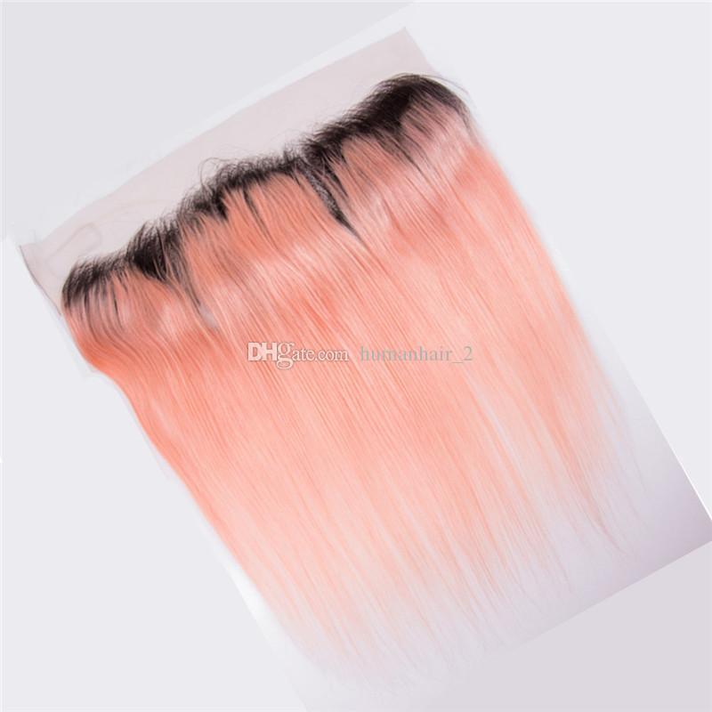 로즈 골드 인간의 머리카락 묶여 레이스 정면 폐쇄 레이스 정면 13 * 4와 스트레이트 핑크 Ombre 머리 Pre Plucked Natural Hairline