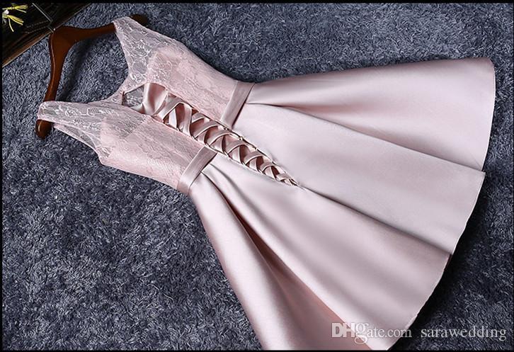 Blush Rose Dentelle Satin Court Robes De Demoiselle D'honneur Lace Up 2018 Genou Longueur Robes De Soirée Drop shipping
