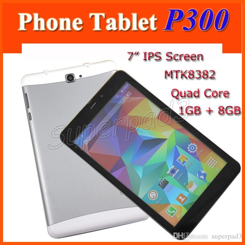 "Cheap 7"" P300 Phone Tablet PC 3G Unlocked Android 4.4 MTK8382 Quad Core 1280*800 IPS 1GB RAM 8GB ROM WIFI Bluetooth GPS"