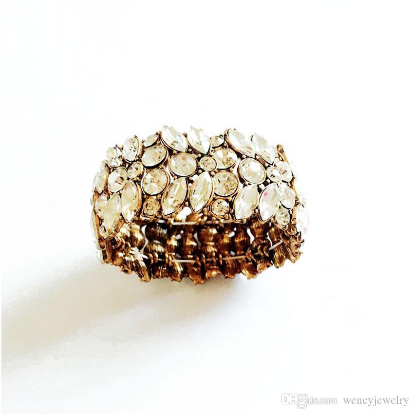 Stretched Bracelets, Crystal Glass Stone Statement Fashion Bracelet Elegant Luxury Bracelets For Women Accessories Antique Gold Jewelry