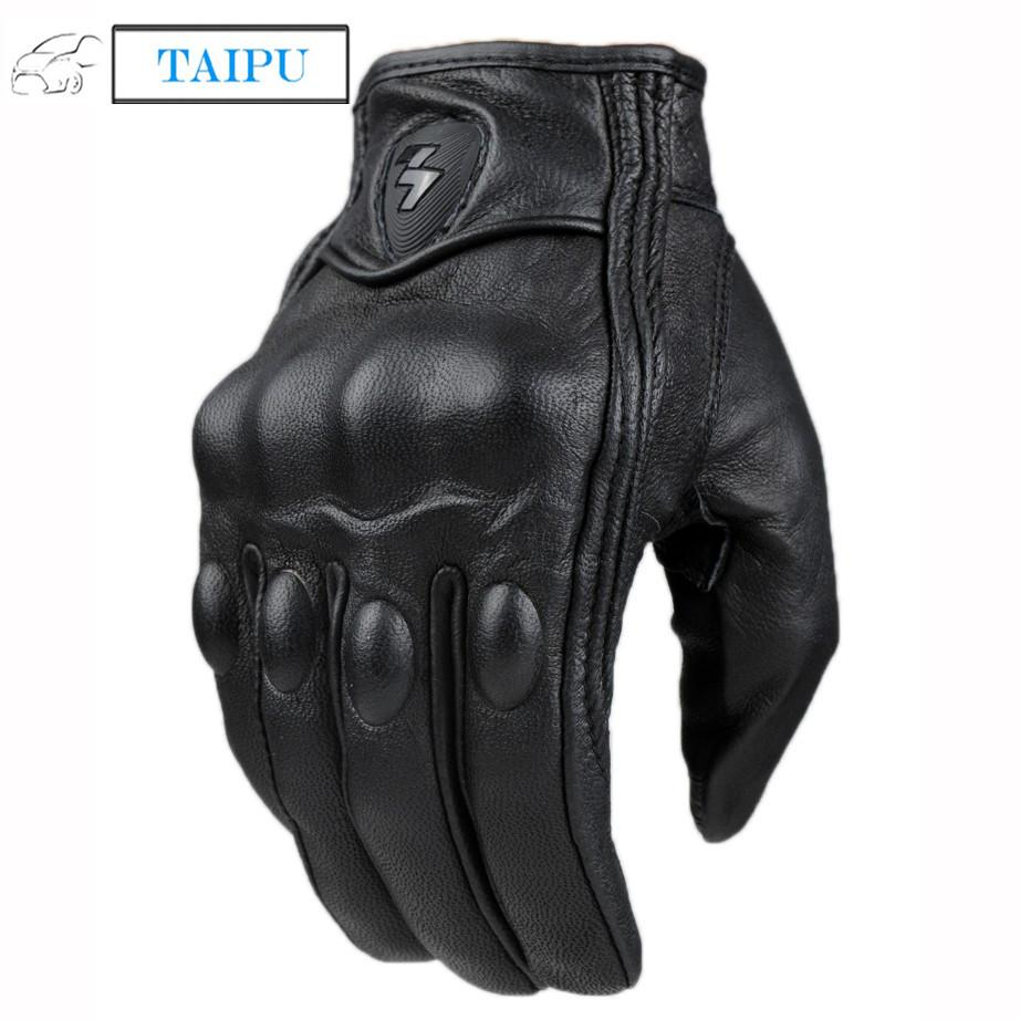 Mens gloves fashion - Top Guantes Fashion Glove Real Leather Full Finger Black Moto Men Motorcycle Gloves Motorcycle Protective Gears Motocross Glove