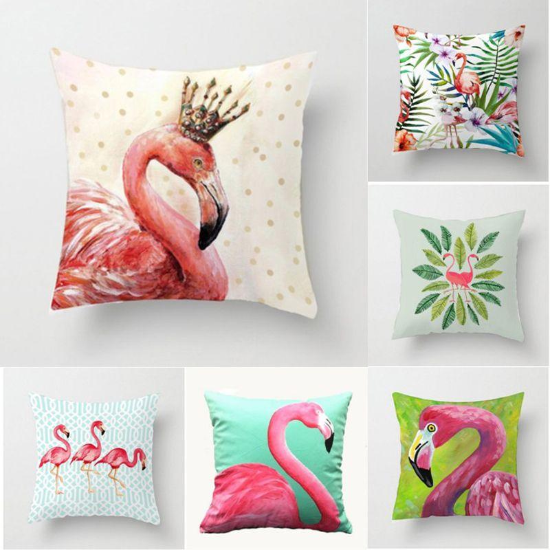 f6a46537ac Compre es Summer Flower Birds Cojín De La Cubierta 45x45 Cm Hoja De Palma  Flamingo Cactus Suave Funda De Almohada Fundas De Almohada Dormitorio Sofá  ...