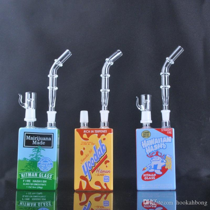 New arrival hitman Mini Liquid glass rigs Glass Cereal Box oil Dab Rig 14 mm with domeless and nail glass bong