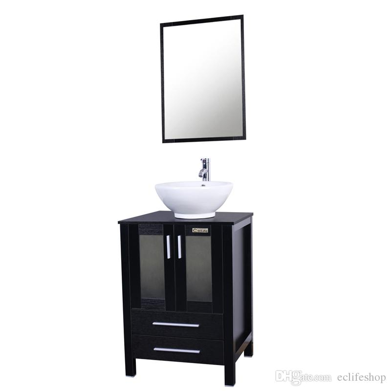 2017 24'' Modern Bathroom Vanity And Sink Combo Stand Cabinet And White  Round Ceramic Vessel Sink With Overflow And Chrome Bathroom Faucet From  Eclifeshop,