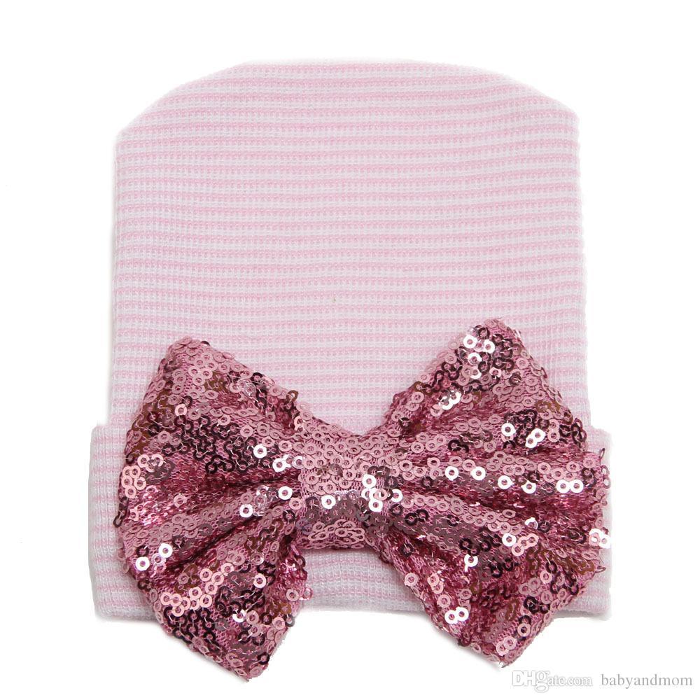 Winter Warm Lovely Newborn Baby Infant Girl Toddler Soft Sequins Bowknot Hospital Cap Beanie Hat