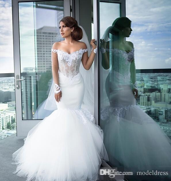Herrliche lange Ärmel Mermaid Brautkleider 2019 weg von der Schulter Appliques Lace Illusion Mieder Kapelle Zug Brautkleider Robe De Soiree