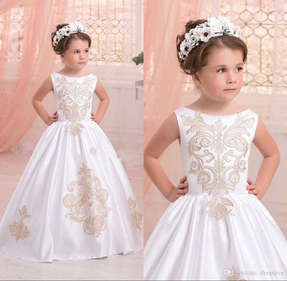 c6cd490b969 2018 Elegant White First Communion Dresses For Little Girls Gold Appliques  Ball Gown Flower Girl Fresses For Weddings Custom Made Confirmation Dresses  ...