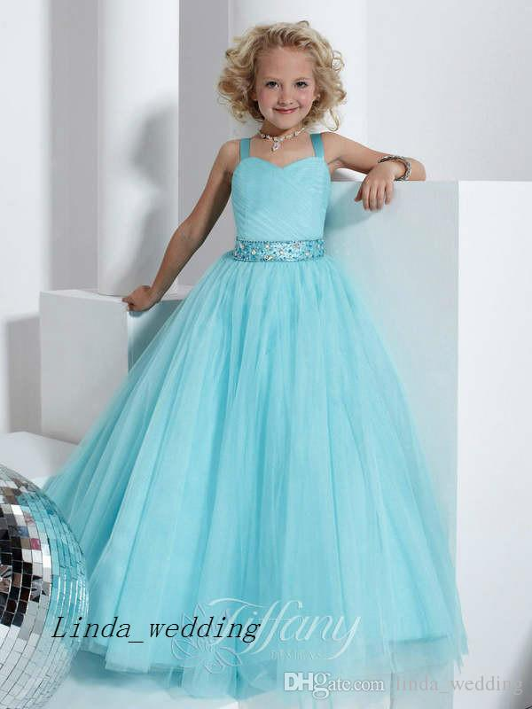 Lovely & Beautiful Baby Blue Girl's Pageant Dress Party Cupcake Flower Girl Pretty Dress For Little Kid