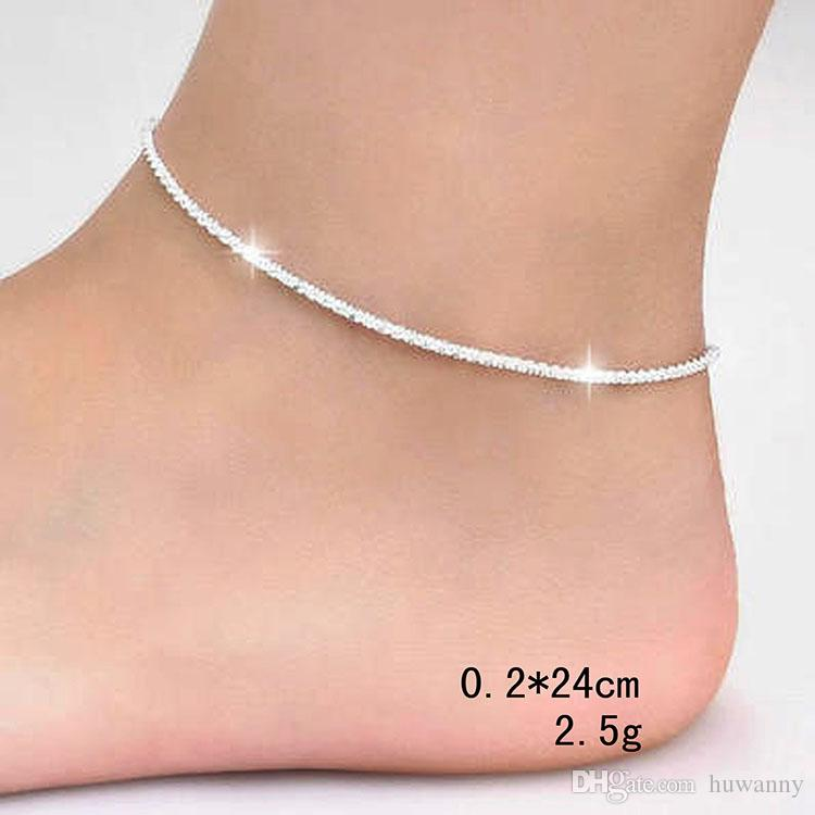 Top Grade Silver Anklet Bracelet Hot Sale Fashion Link Chain Anklets For Women Girl Foot Bracelets Jewelry Wholesale 0340WH