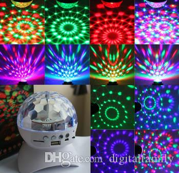 Bluetooth Speaker Stage Lights With Controller RGB LED Crystal Magic Ball Effect Light DJ Club Disco Party Lighting With USB /TF/FM radio