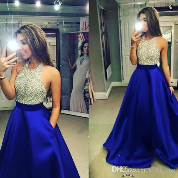 New Royal Blue Satin Prom Dresses Halter Beaded Top A Line Floor Length Party Dresses Evening Gowns Jewel Sequins Backless Homecoming Dress