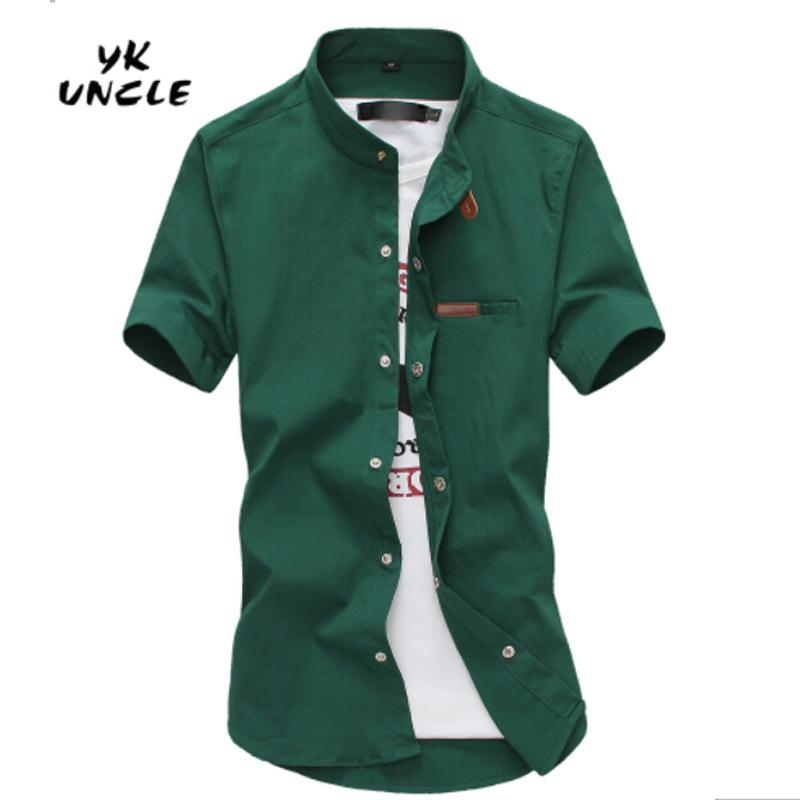 55002135541 Wholesale- 2016 Gradient Men Denim Shirts Short Sleeve Camisa Chambray Mens  Dress Shirt Collar Button Up Men Shirts Chemise XXXL