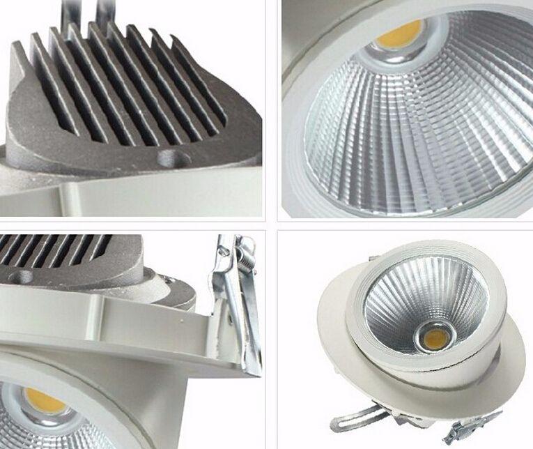 Justierbares 30W warmes Weiß / natürliches Whtei / kaltes weißes KOBB-Gimbal eingebettete geführte Stammlampe führte hinunter Licht geführtes Downlamp-Geschäftslicht AC85-265V