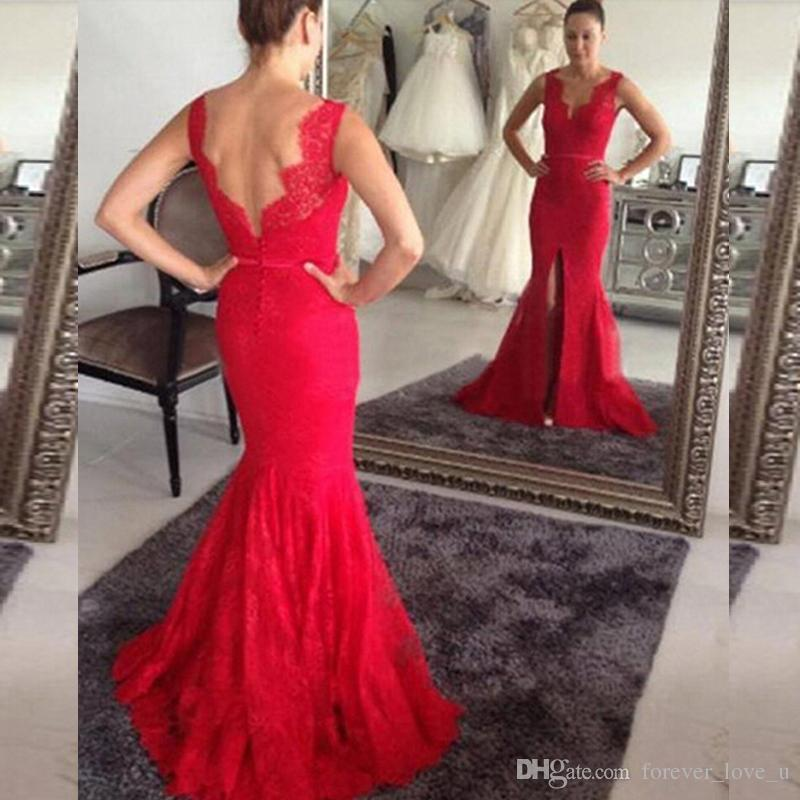 Red Lace Mermaid Wedding Dresses