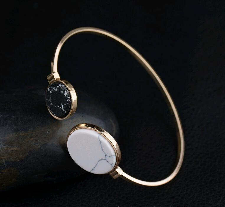New Turquoise Marbleized Stone Charm Cuff Bangle Vintage Retro Crack Grain Round Size Asymmetry Bracelet Jewelry Designs for Sale