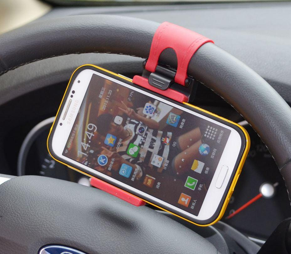 Universal Car Steering Wheel Hand-free Mobile Phone Holder for iPhone 4S 5 5S 5C for Galaxy S4 S5 GPS MP4 PDA Phone Holder
