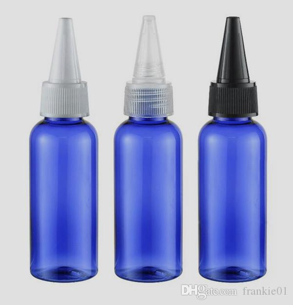 botellas de aguja de vaporizador 50 ml para líquido E con tapas a prueba de niños 50 ml de plástico Cigarrillo electrónico Botellas de plástico PET azul verde ámbar claro