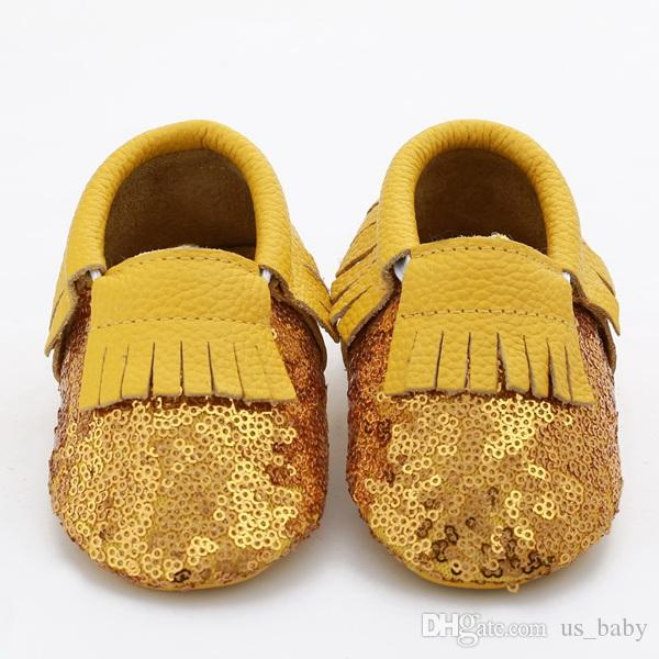 Baby fringe sequin moccs choose infant boy girl gold yellow silver moccasins soft leather moccs toddler booties cute shoes