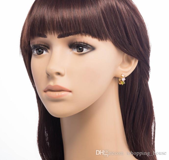 Nova Moda 18k Amarelo Banhado Ouro Colorido CZ Crystal Brincos Hoops Para Crianças Adolescentes Meninas Bom Presente ER-214