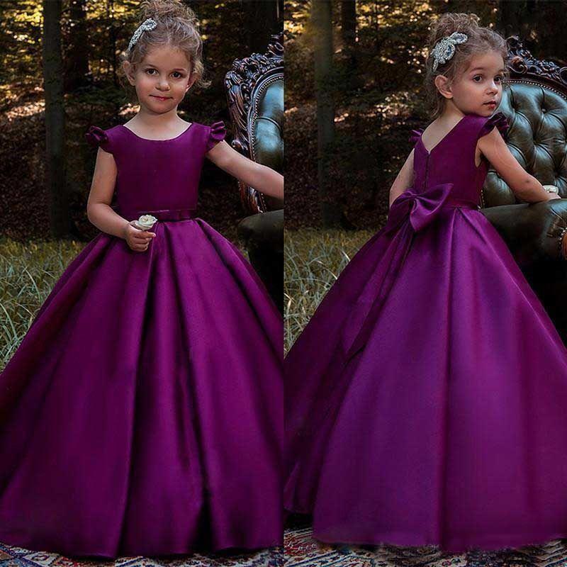 Princess Purple Satin Flower Girl Dresses Bow Back Princess Birthday ...