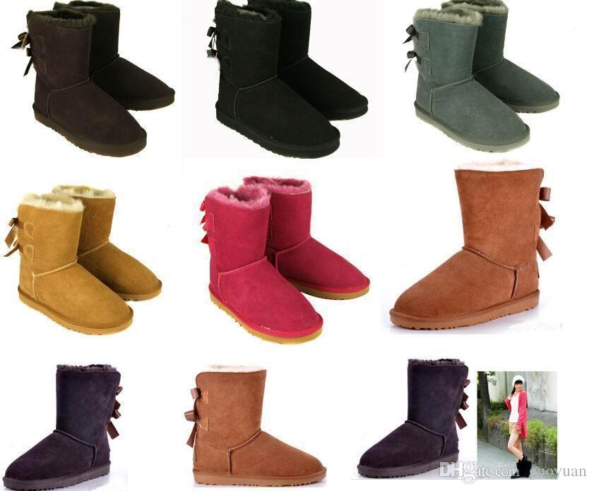 e7f545496a0 FREE SHIPPING women bailey bow snow boots short winter Cowhide leather  Bowknot women s Australia Lady warm boots female shoes