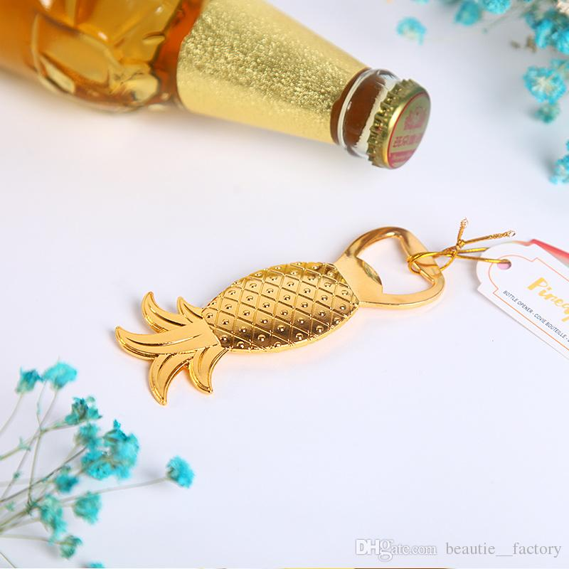 20Pcs Chrome Bottle Opener Gold Pineapple Beer Openers Wedding Favors Supplies Wine Favor Christmas Gift New
