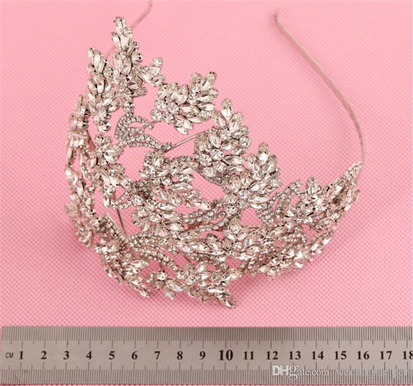 Vintage Wedding Bridal Rhinestone Headband Headpiece Silver Crystal Crown Tiara Hair Accessories Jewelry Diamond Silver Flower Hair Band
