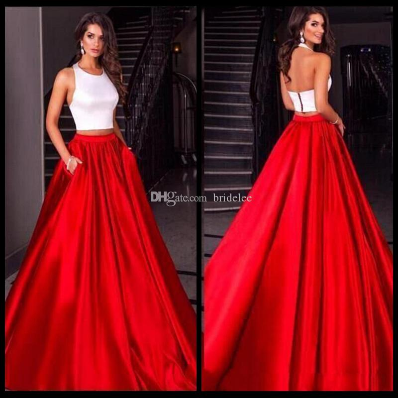 Cheap Modest 2018 Two Pieces White Red Satin Prom Dresses Evening Party Sleeves Party Gown With Pocket Plus Size Celebrity Gowns
