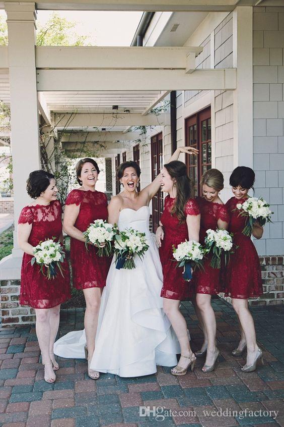 Land burgund spitze brautjungfer dress kurze schiere bateau hals kurze ärmel bridesamaids kleider hochzeit party gastkleid benutzerdefinierte gemacht