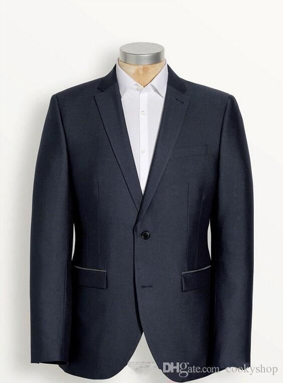 Chegam novas custom made homens terno azul escuro dos homens ternos terno do noivo para homens bonito novo estilo de moda