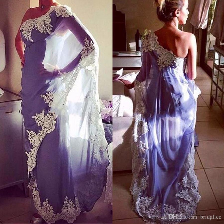 Chiffon Um Ombro Decote Bainha Vestidos de Noite Com Apliques de Renda Azul Mangas Compridas Arábia Saudita Estilo Prom Vestidos