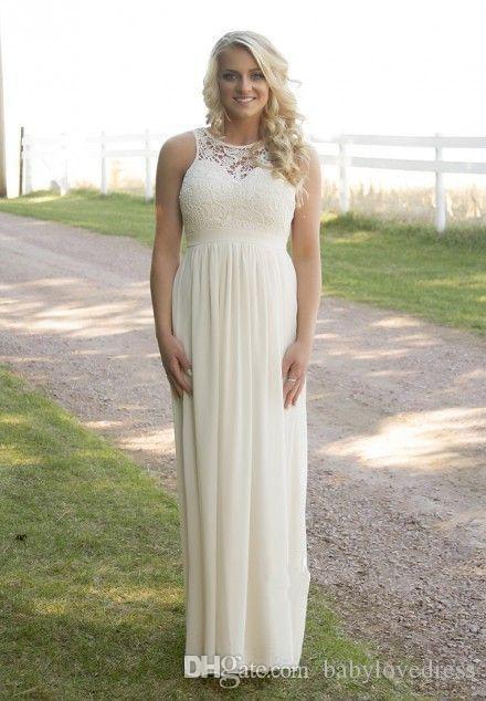 Ülke Mavi Pembe Fildişi Ülke Stil Ucuz Gelinlik Modelleri Yaz Backless Dantel Annelik Şifon Uzun Plaj Hizmetçi Honer Elbiseler