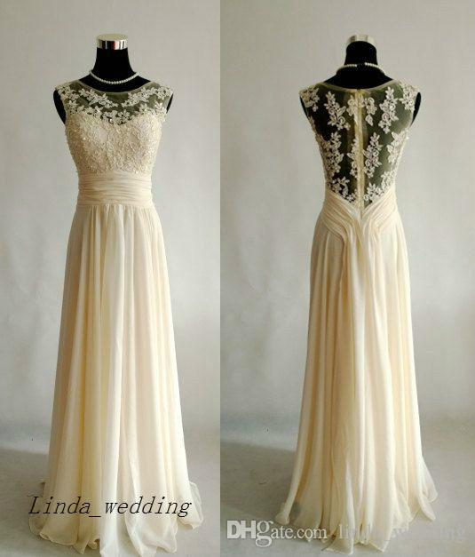 Cream Lace Prom Dress New Charmming Chiffon Appliques Sleeveless Long Chiffon Formal Party Gown