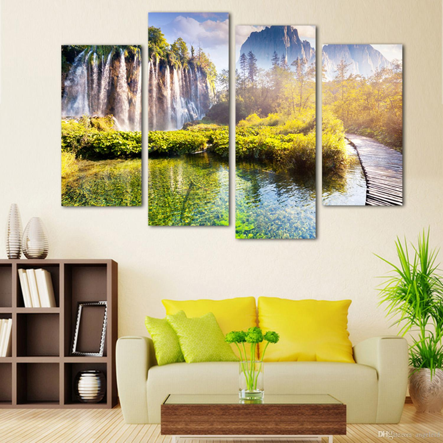 4panel Landscape Waterfall printed on canvas home decorative wall ...