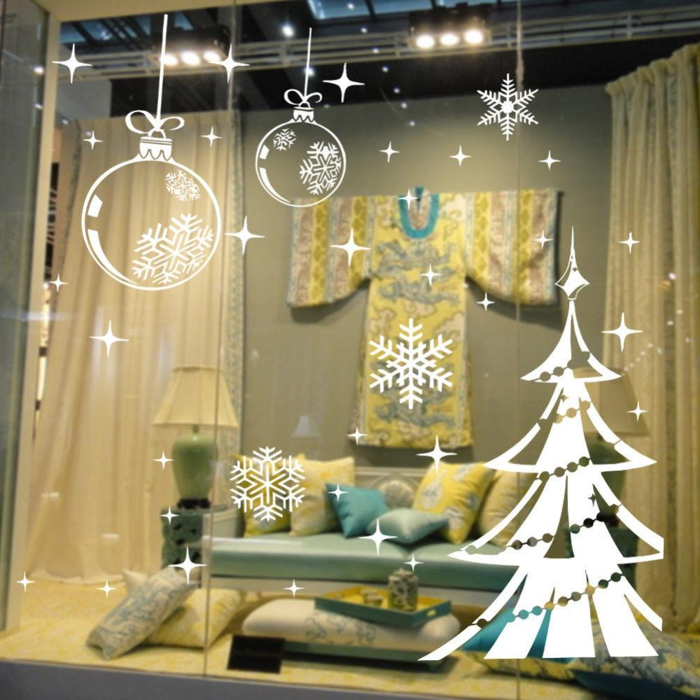 White Snowflake Merry Christmas Tree Vinyl Wall Sticker Glass ...