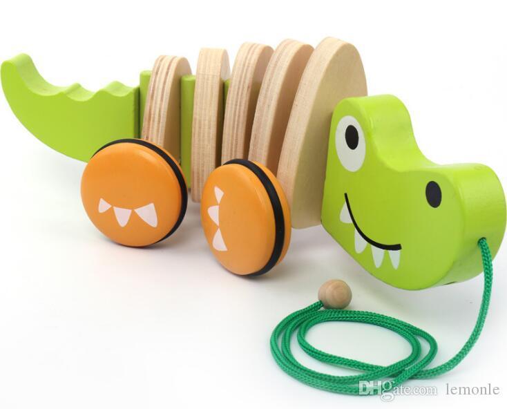 Balanço de madeira crocodilo arrastando carro bebê criança 0 ~ 2 anos de idade brinquedos educativos para a infância