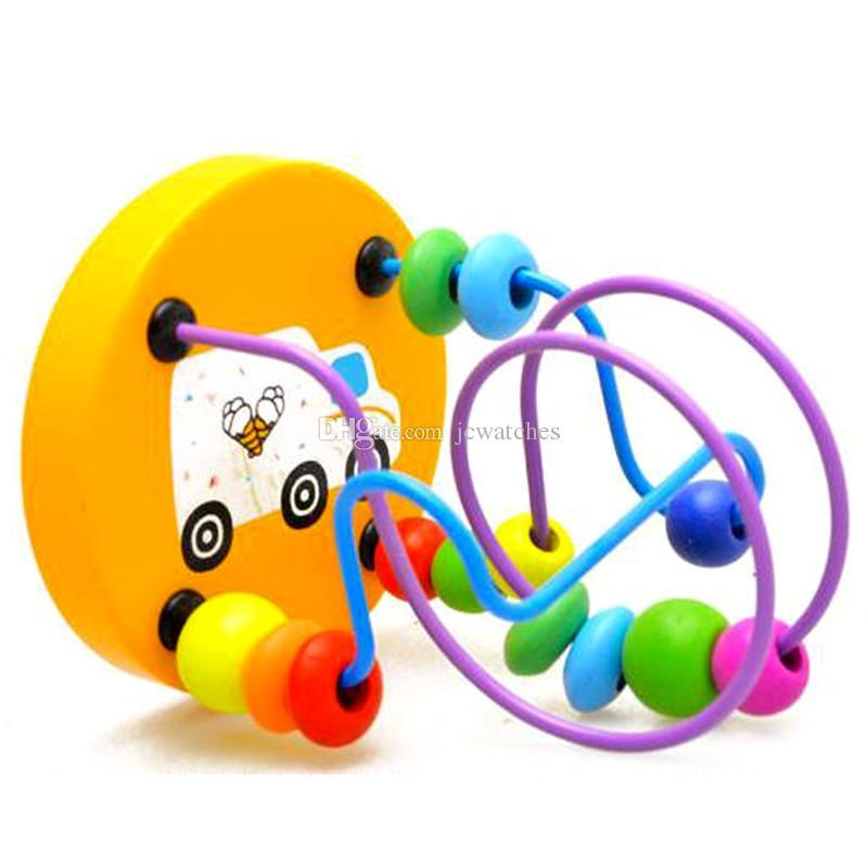 Renkli Ahşap Mini Boncuk Etrafında Erken Öğrenme Oyuncak Çocuk Çocuk Bebek Eğitici Matematik Oyuncak Hediye Kutuları ile Toptan Rastgele Renk