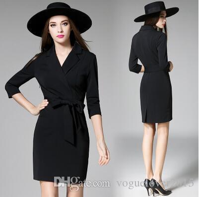 f33f517fd Compre 2017 Traje De Negocios Negro Vestidos Profesionales Vestidos Con  Cuello En V 3 4 Manga Larga Lápiz Ajustado Vestido De Oficina Cinturón De  Lazo Corto ...