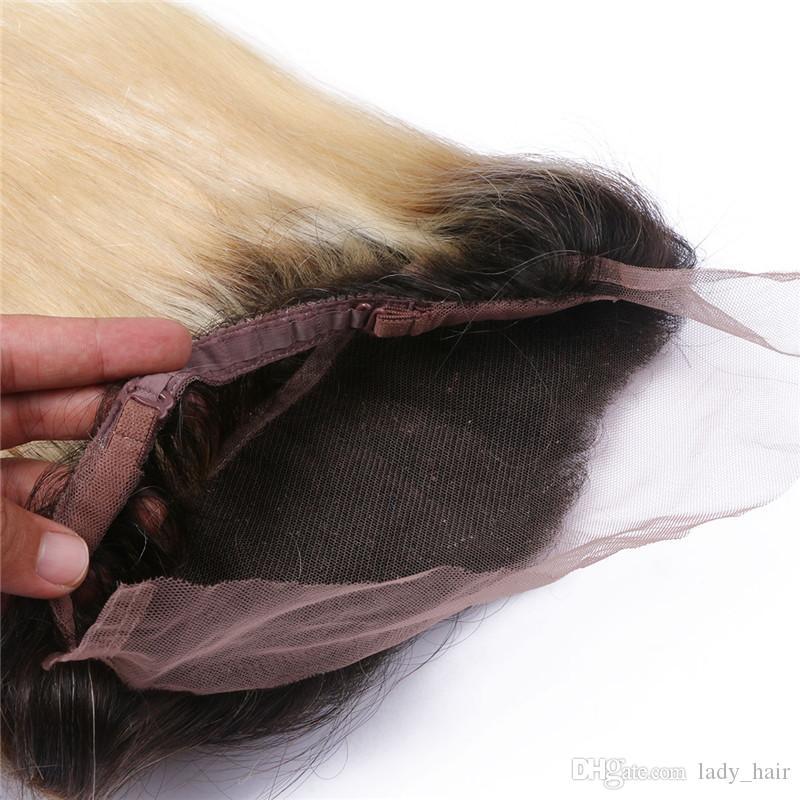 # 1B / 613 Rubia Ombre 360 banda frontal de encaje con paquetes 10A Grado brasileña rubia Ombre cabello humano con frontal recta de seda 360
