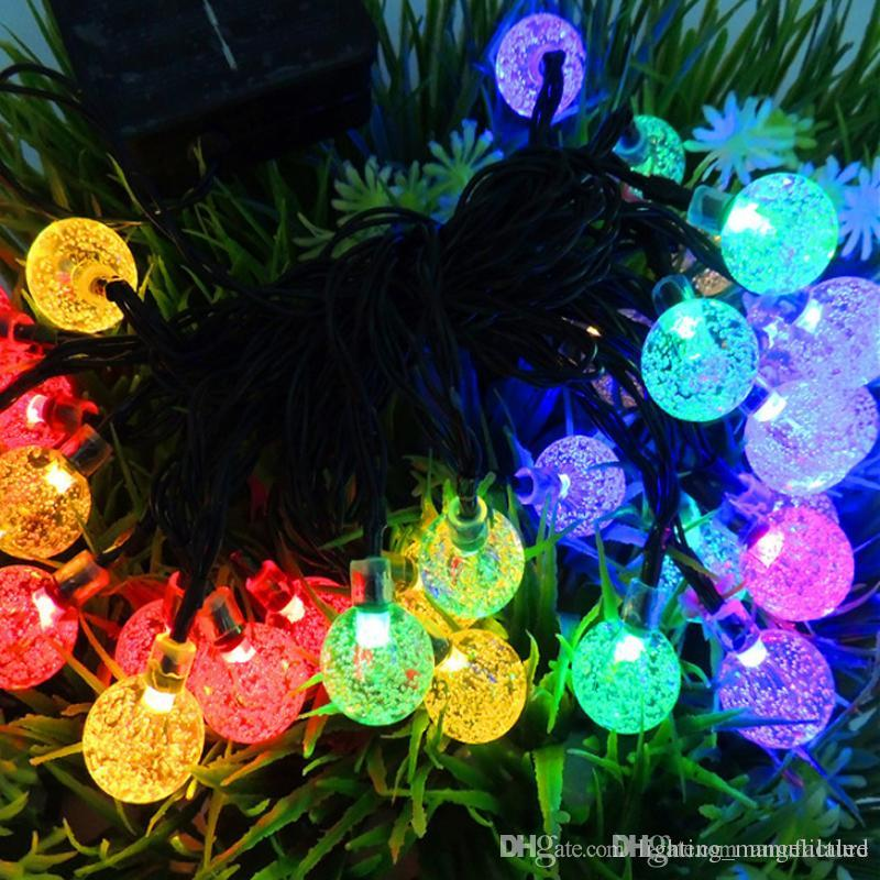 solar powered christmas lamp string light 6m 30 leds bubble ball fairy lights lamp christmas festival decors new year garden decorations flower string - Solar Powered Christmas Decorations