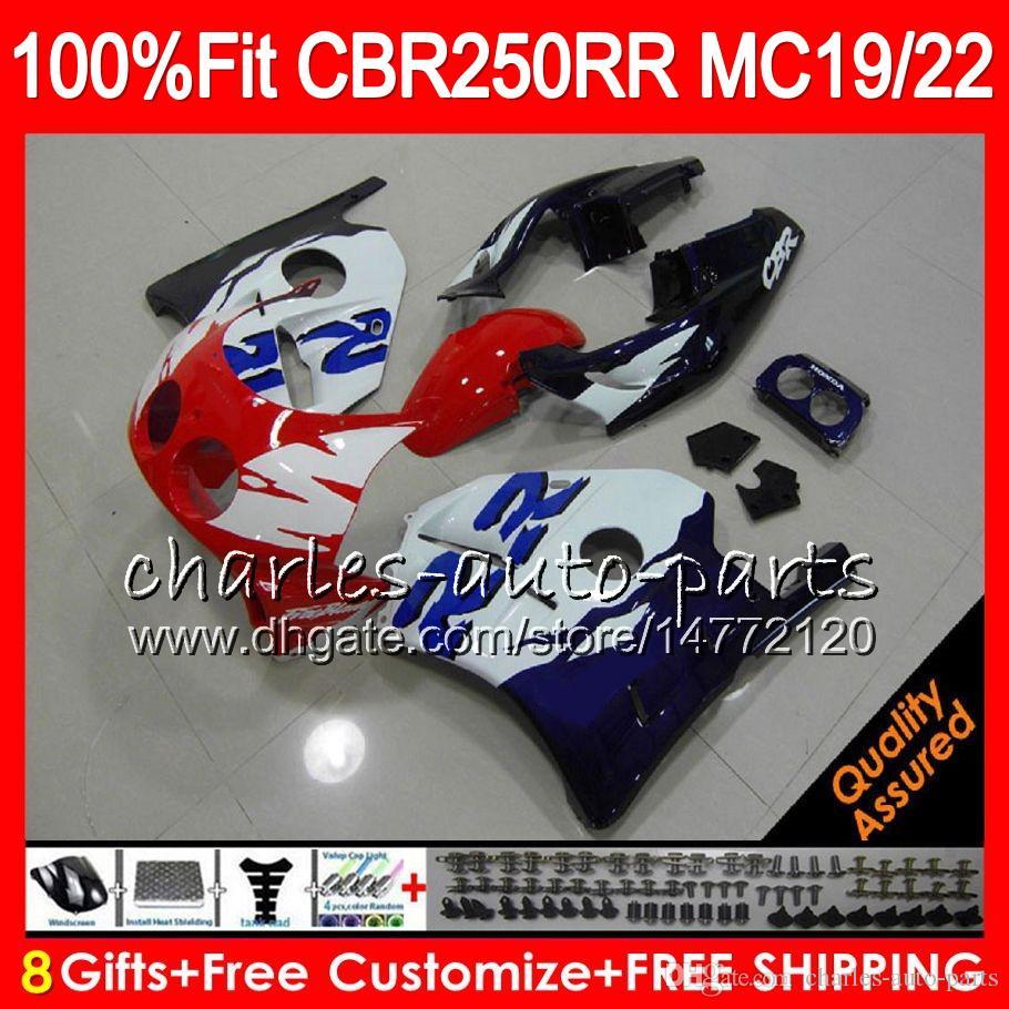 Injeção Para HONDA CBR TOP branco azul 250RR CBR250RR 94 95 96 97 98 99 96NO82 MC19 MC22 250 CBR250 RR 1994 1995 1996 1997 1998 1999 Carenagem