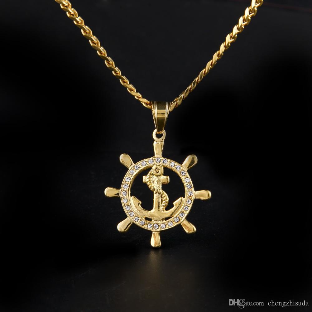 Acciaio inossidabile rotonda Anchor Pendant 24K Lced fuori Bling strass punk Collana lunga catena cubana gioielli uomini donne HipHop