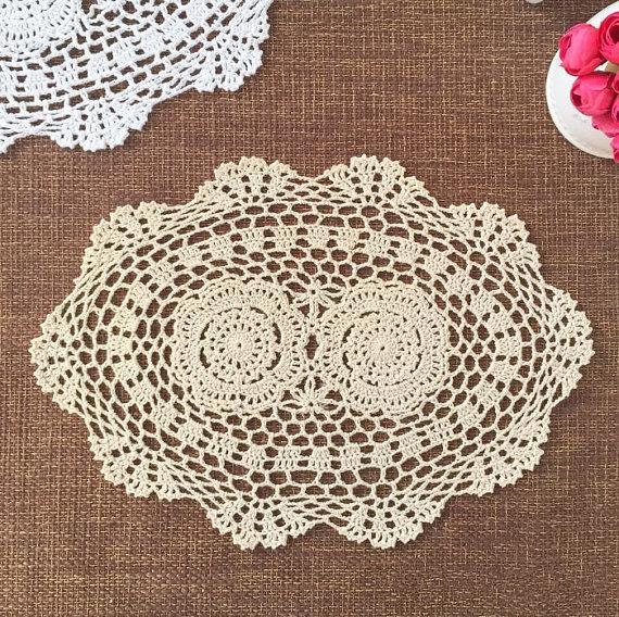 hand crochet centerpieces for wedding, handmade placemats OVAL, crochet doilies for home decor, handmade crochet coaster,of