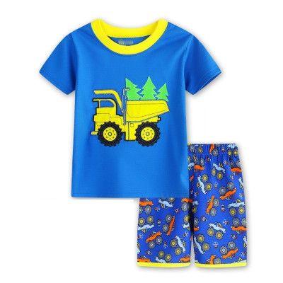 4a232ed655850 Boy Pajamas Kids Summer Clothing Set Children Pijamas Cartoon Letter  T-shirts+Shorts Boys girls Sleepwear Kids Pajama Set Cotton