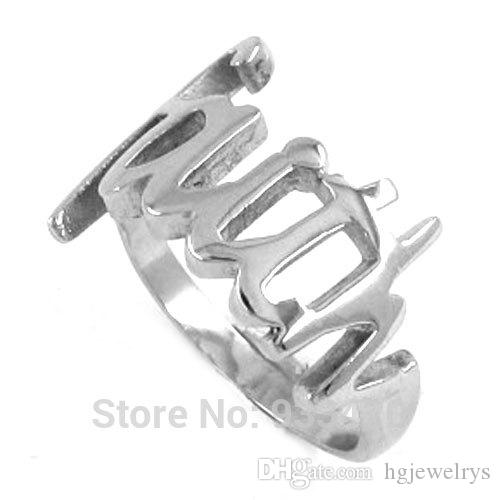 ! Faith Ring Letters Ring Stainless Steel Jewelry Classic Women Motor Biker Ring Wholesale SWR0199B