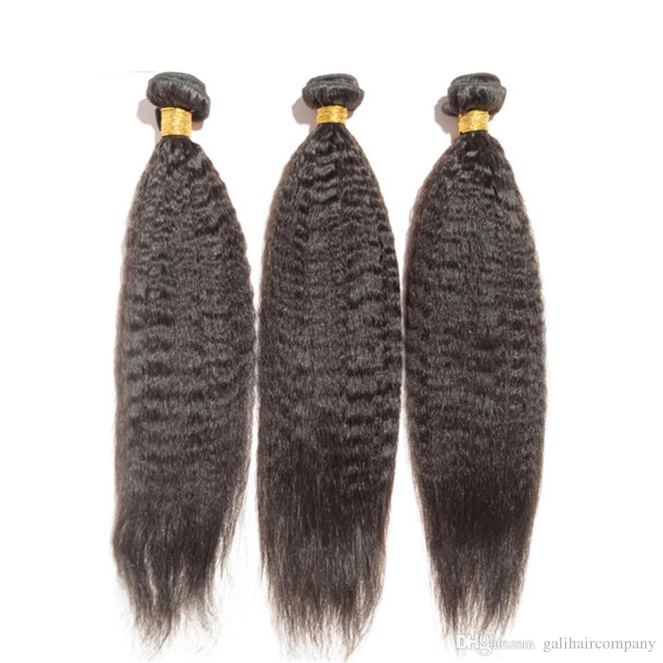 8A High Quality Peruvian Kinky Straight Unprocessed Human Hair Extensions 8-30inch Natural Black Color Soft Full Dyeable DHL