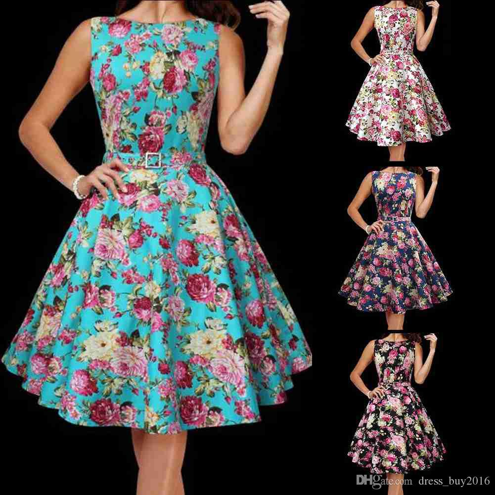 Vintage 1950\'s Floral Rockabilly Spring Garden Party Picnic Dress ...